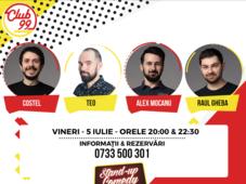 Stand up comedy cu Teo, Alex Mocanu și Costel și invitat în deschidere