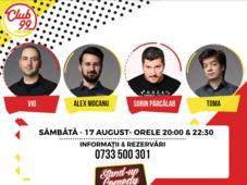 Stand up comedy Vio, Alex Mocanu, Sorin Pârcălab și invitat în deschidere
