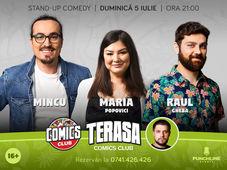 Stand-up cu Maria, Mincu și Raul pe terasă la ComicsClub!