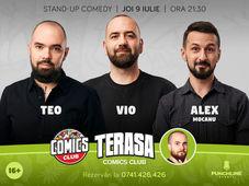 Stand-up cu Teo, Vio și Mocanu pe terasă la Comicsclub!