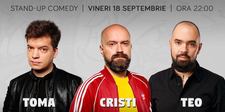 Stand-up cu Cristi, Toma, Teo pe terasa la ComicsClub!