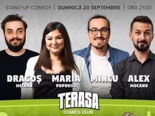Stand-up cu Maria, Mincu, Alex Mocanu si Mitran pe terasa la ComicsClub!