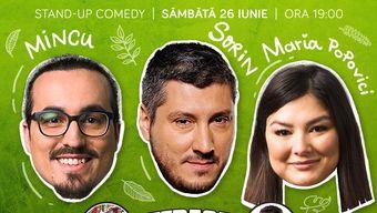 Stand-up cu Sorin, Maria și Mincu pe terasă la ComicsClub!